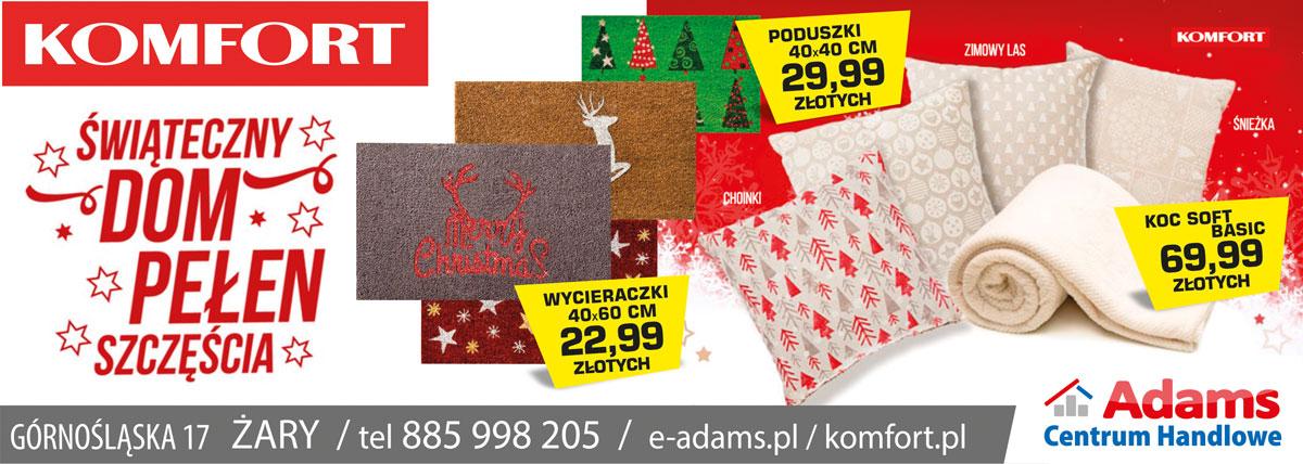 Żary Komfort banner święta 2017 świąteczna promocja poduszki koc basic wycieraczki Totalna Wyprzedaż
