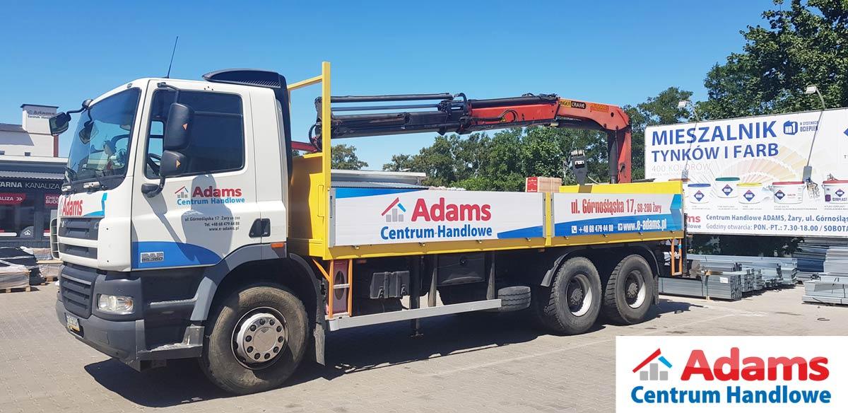 Transport HDS Adams Żary dostawa lubuskie palety stal dłużyce żuraw