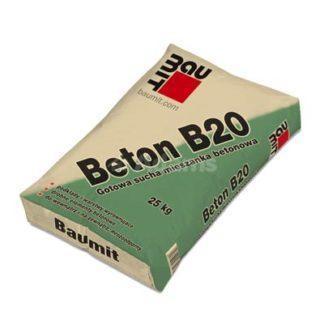 beton Żary, baumit b20 25kg, Gotowa sucha mieszanka betonowa, C16/20, sucha mieszanka do zaprawy betonowej, beton mrozoodporny